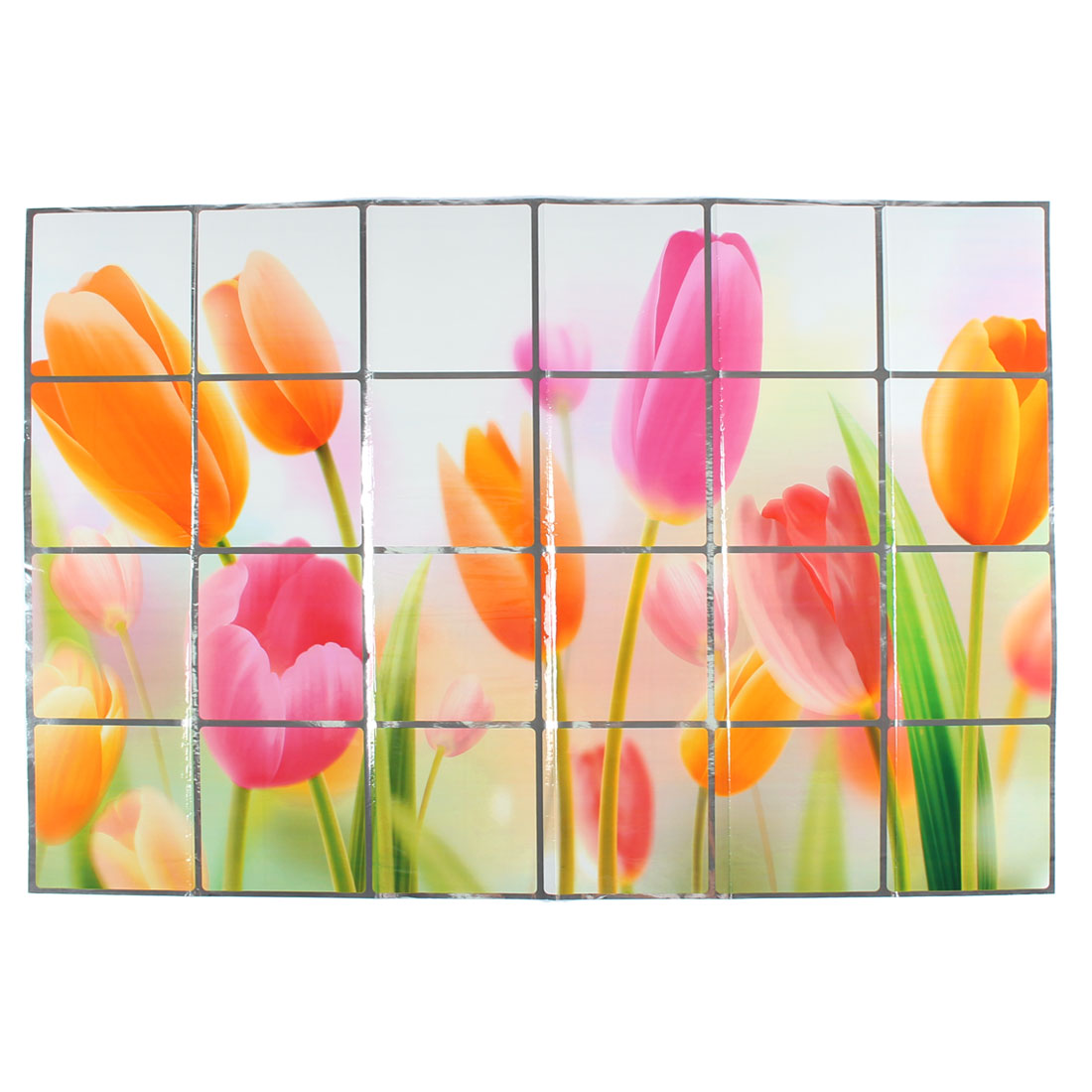 Kitchen Florals Printed Removable Self-adhesive Oilproof Wall Window Sticker 90 x 60cm