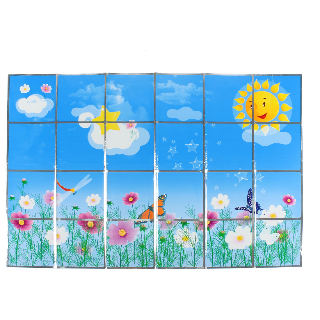 Kitchen Flowers Butterfly Pattern Removable Self-adhesive Oilproof Wall Window Sticker 90 x 60cm