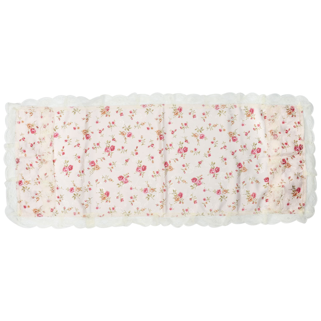 Household Refrigerator Fridge Desktop Polyester Flower Pattern Dust Cover Light Pink