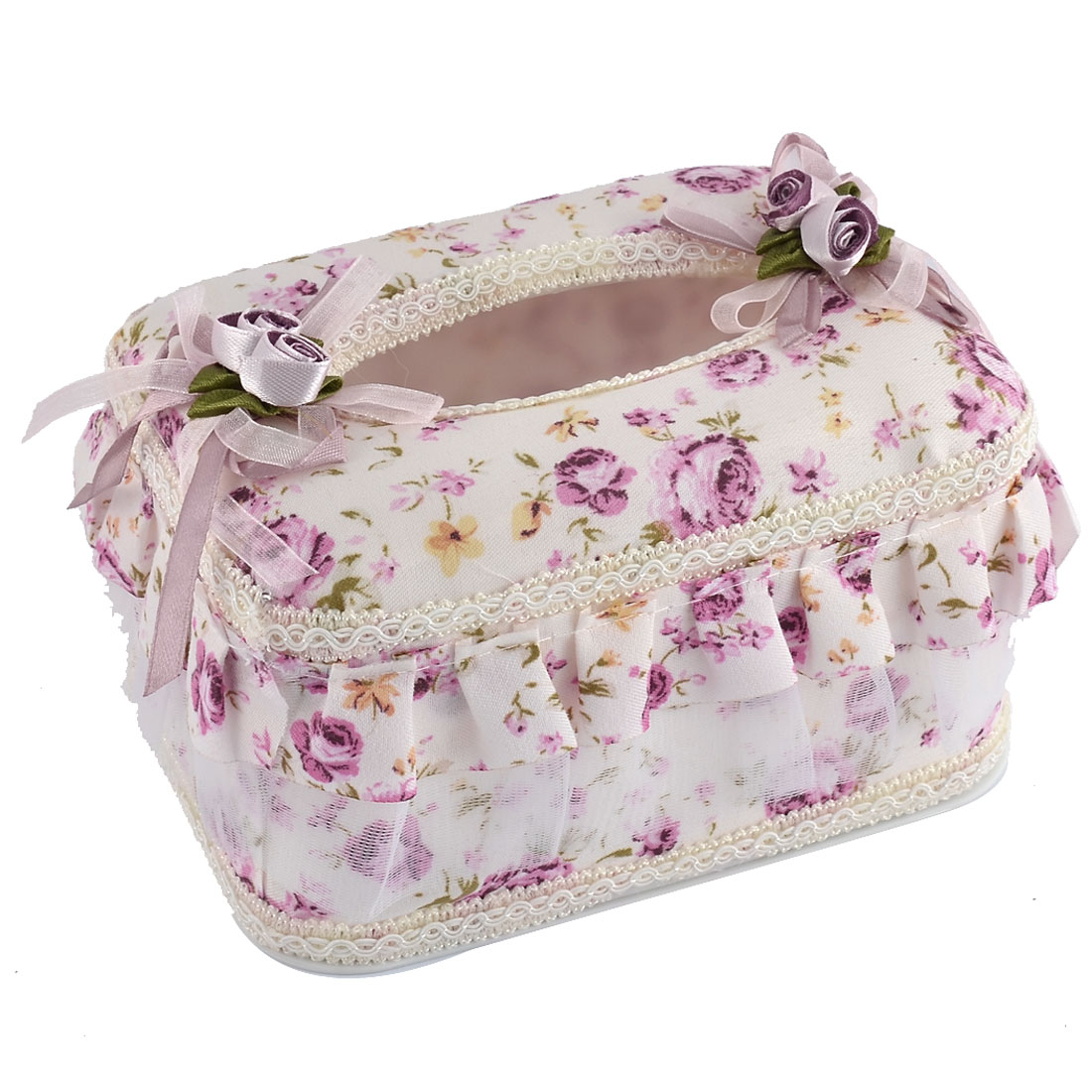 Home Drawing Room Flower Pattern Rectangle Shaped Napkin Tissue Box Holder Case