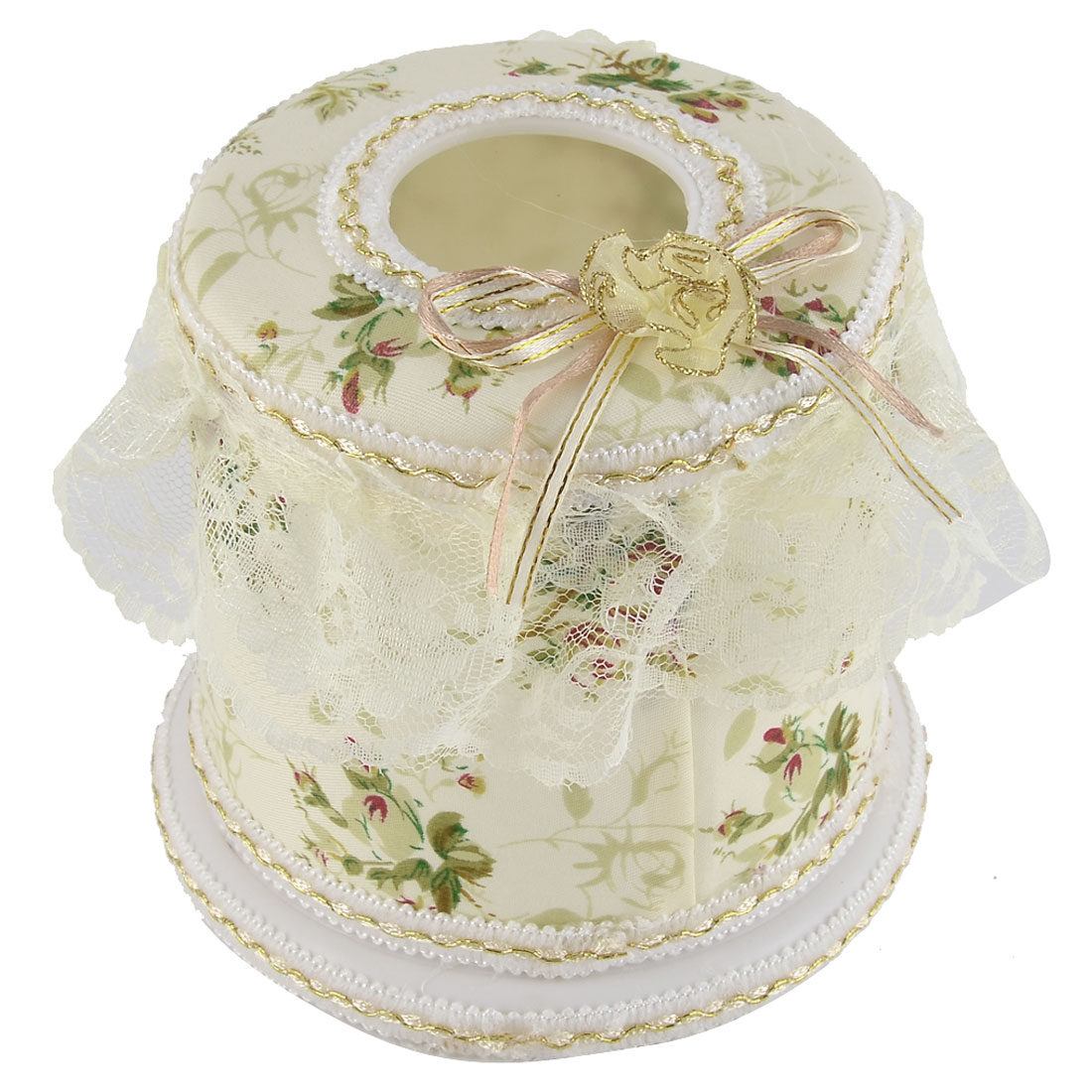 Household Drawing Room Flower Pattern Round Shaped Napkin Tissue Box Holder Case