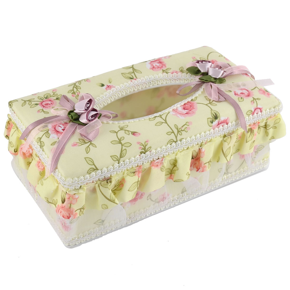 Household Drawing Room Flower Pattern Rectangle Shaped Napkin Tissue Box Holder Case