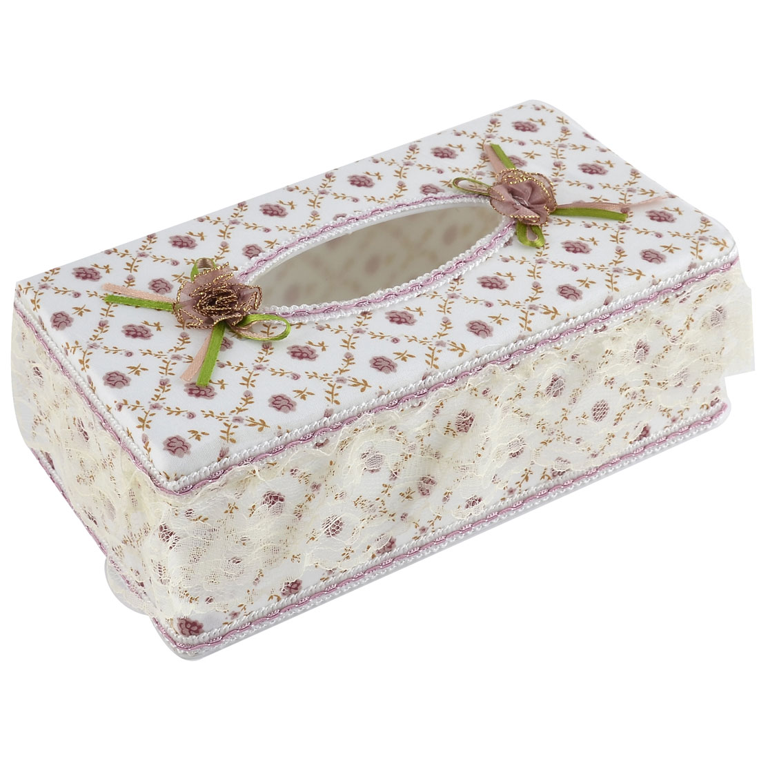 Office Drawing Room Flower Pattern Rectangle Shaped Napkin Tissue Box Holder Case