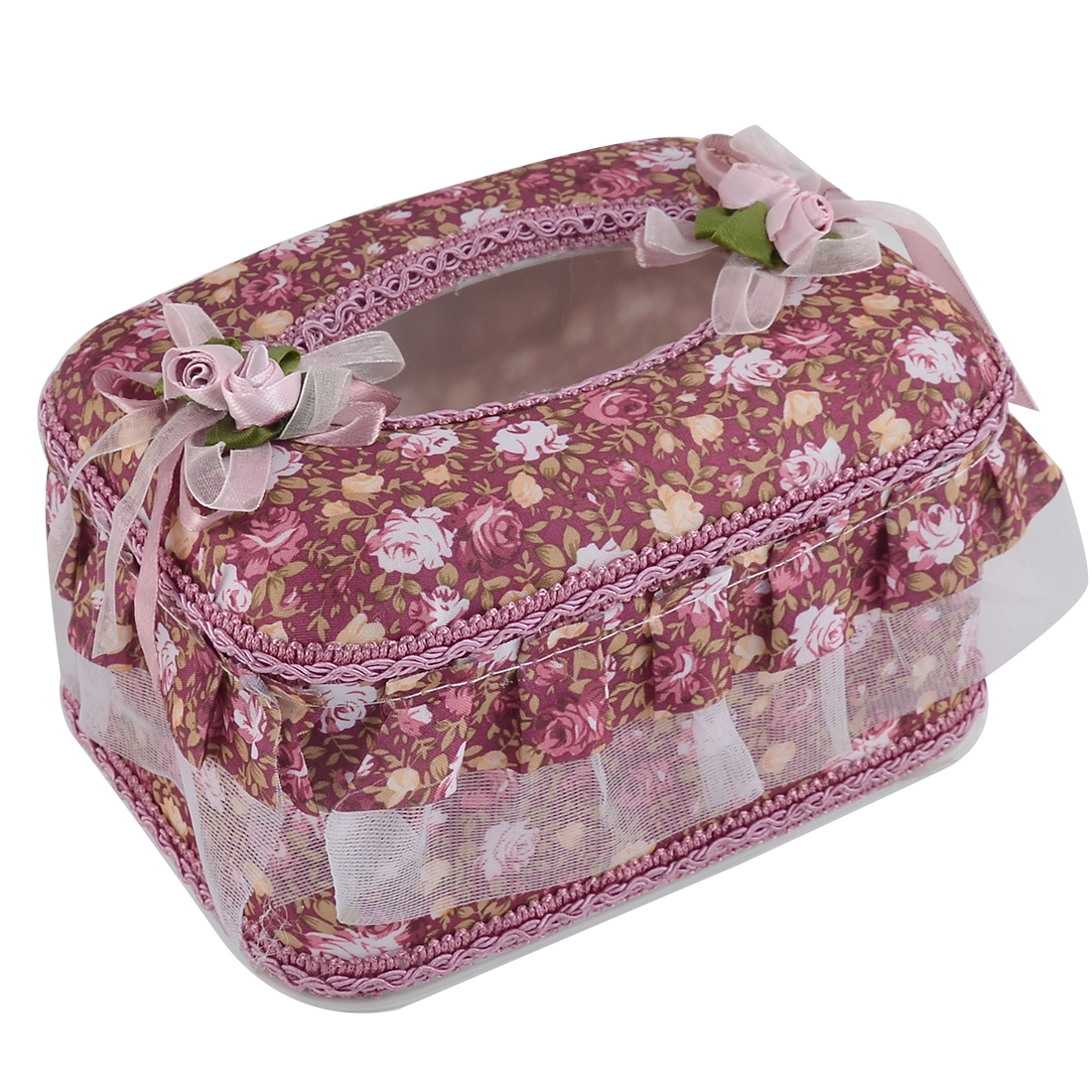 Car Drawing Room Flower Pattern Rectangle Shaped Napkin Tissue Box Holder Case