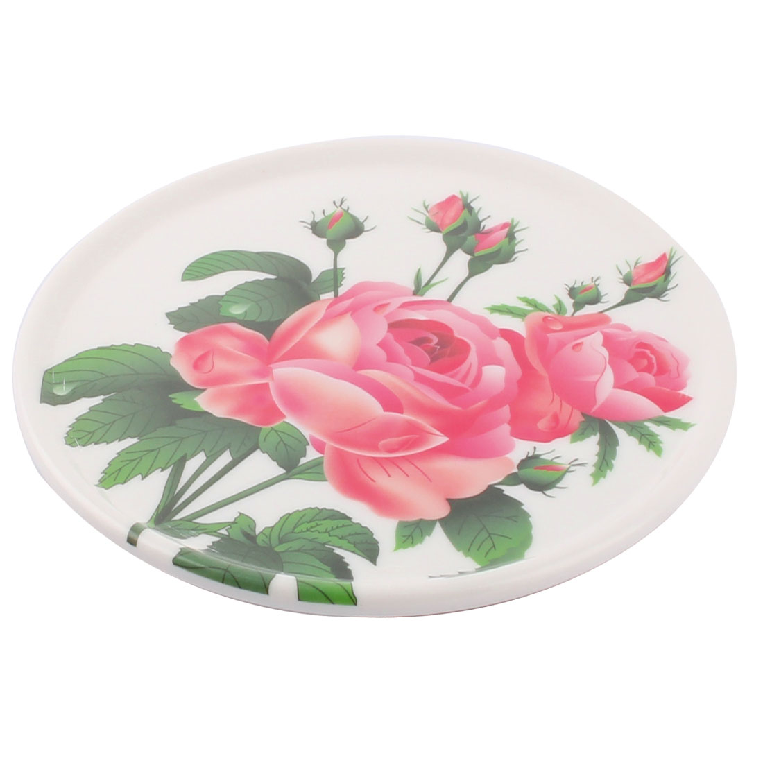 Tableware Melamine Rose Pattern Heat Insulation Placemat Dish Plate Mat Fuchsia