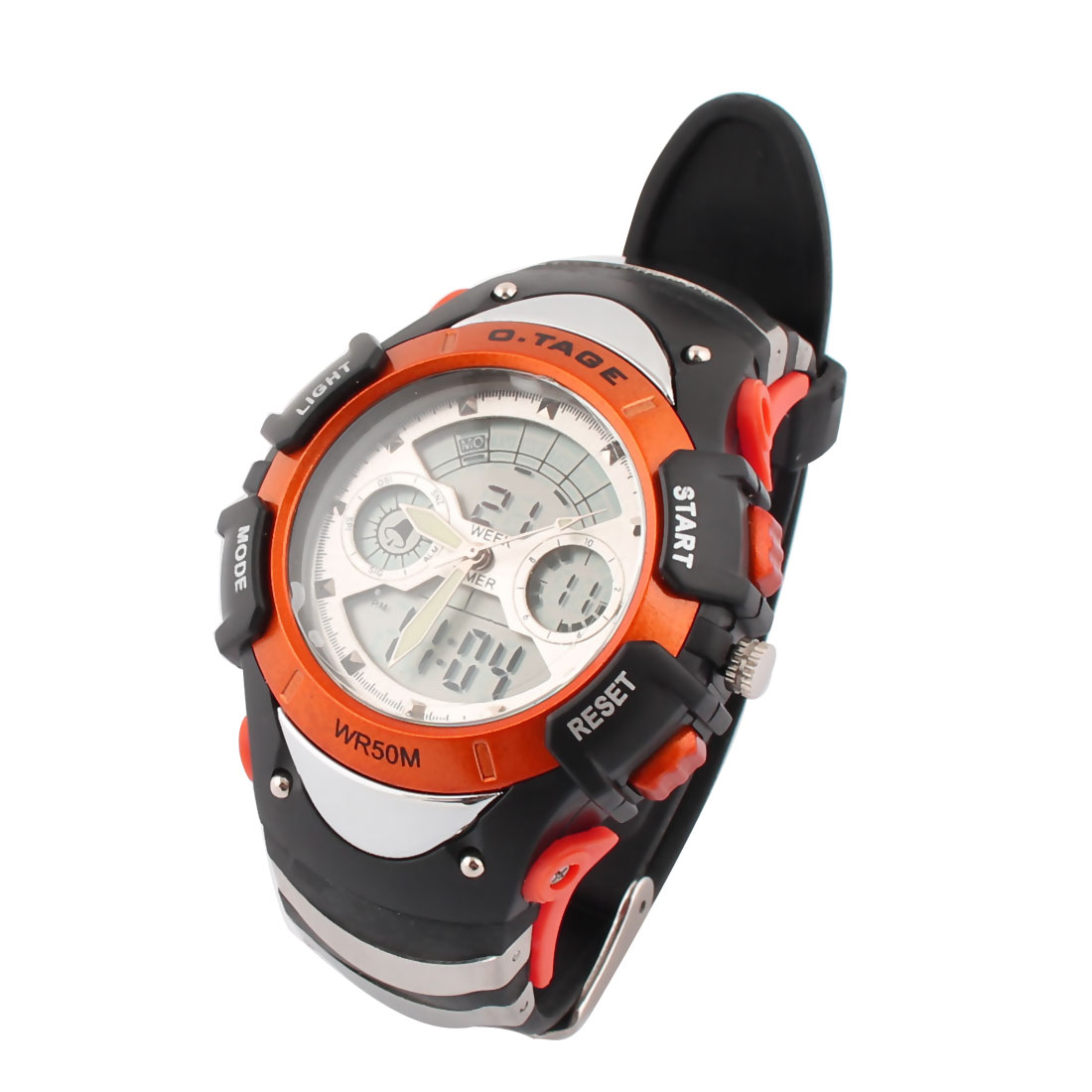 Outdoor Sports Water Resistant Luminous Peak Climbing Watch Black Orange