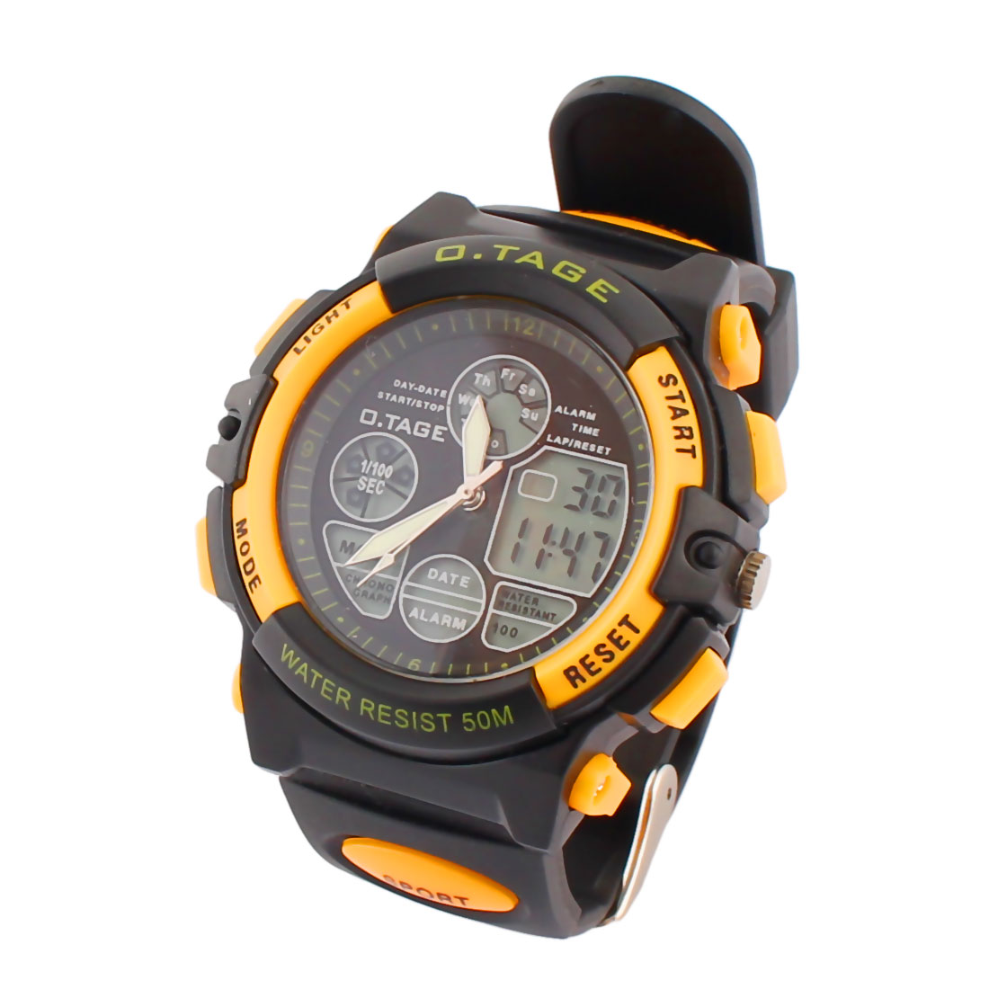Outdoor Sports Water Resistant Luminous Peak Climbing Watch Black Yellow