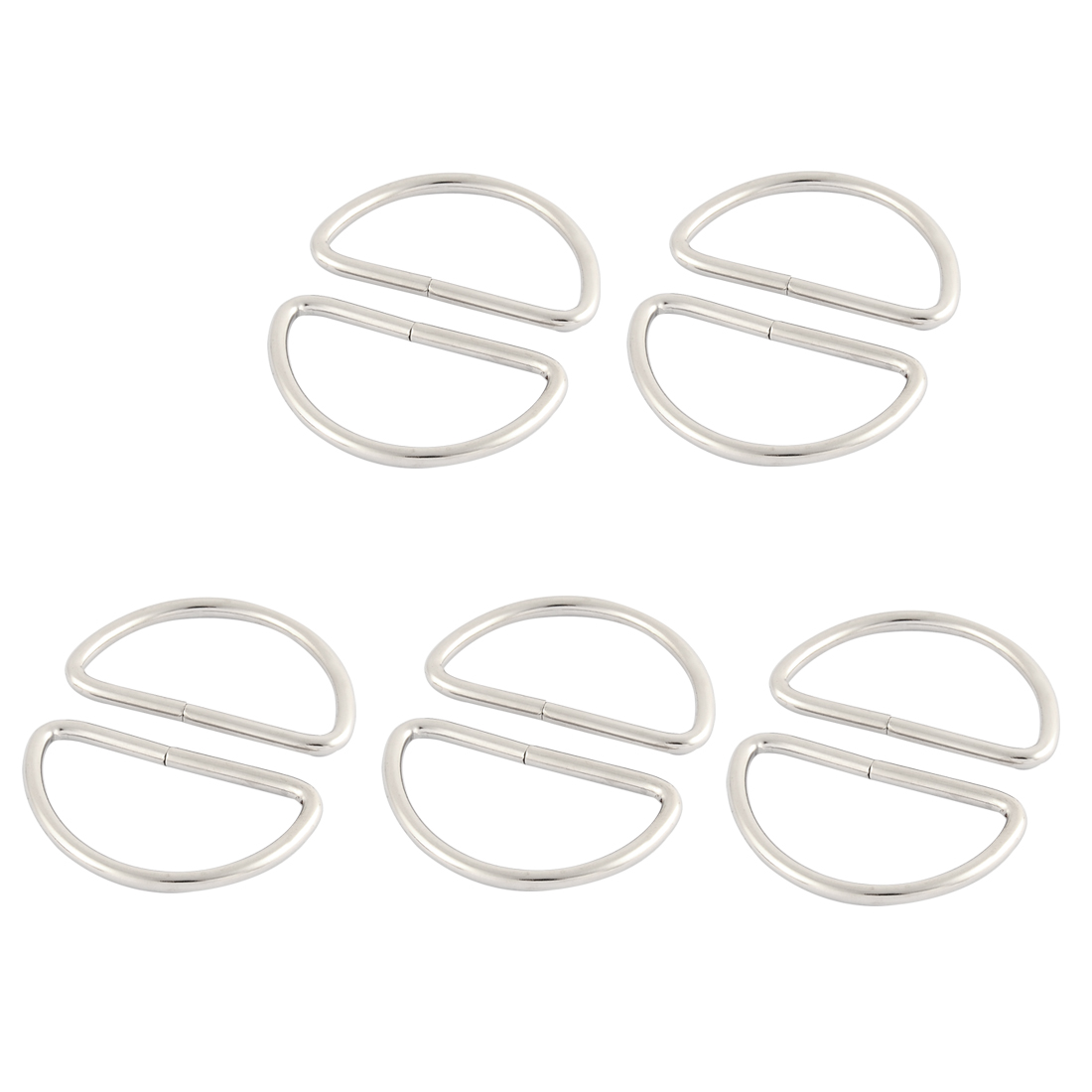 Metal Handbag Strap Belt Buckles Ring D Shaped Hooks Sliver Tone 10 Pcs