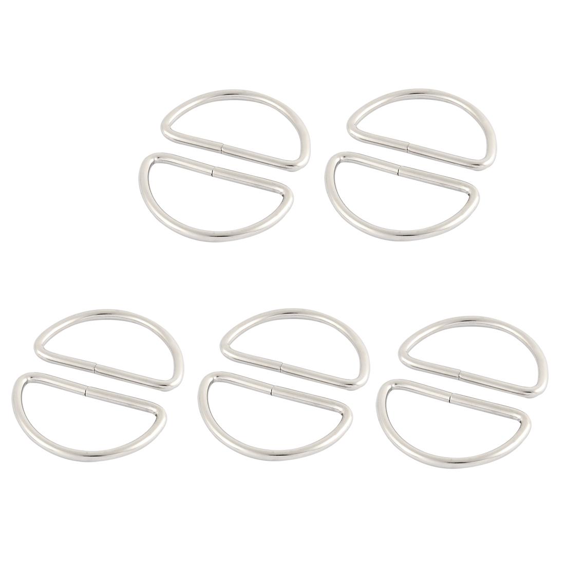 Metal Handbag Strap Belt Buckles Ring D Shaped Hooks Sliver Tone 10pcs For 3.8cm Straps
