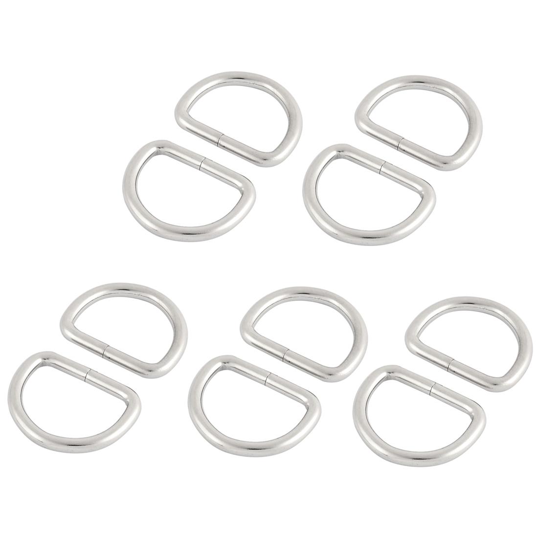 Metal Handbag Belt Buckles Ring D Shaped Hooks Sliver Tone 10pcs for 2.5cm Straps