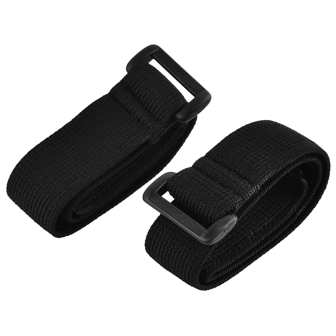 Luggage Nylon Elastic Cable Organizer Hook Loop Tie Strap Black 2.5 x 40cm 2pcs