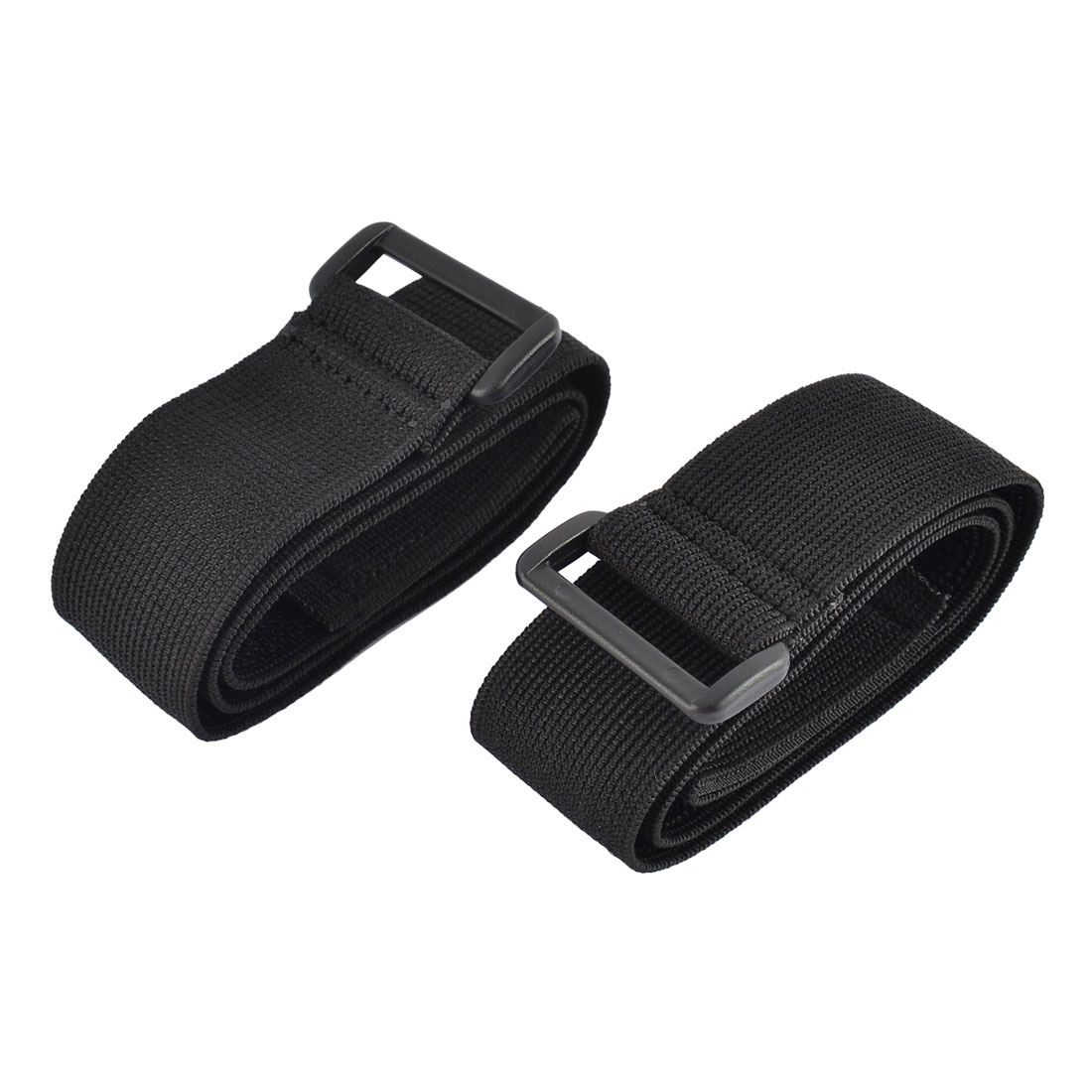 Luggage Nylon Elastic Cable Organizer Hook Loop Tie Strap Black 3.8 x 70cm 2pcs