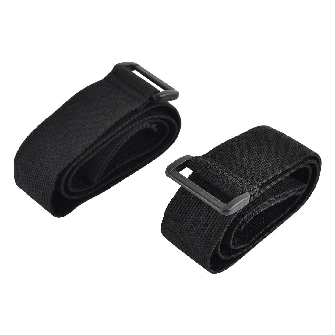 Luggage Nylon Elastic Cable Organizer Hook Loop Tie Strap Black 3.8 x 80cm 2pcs