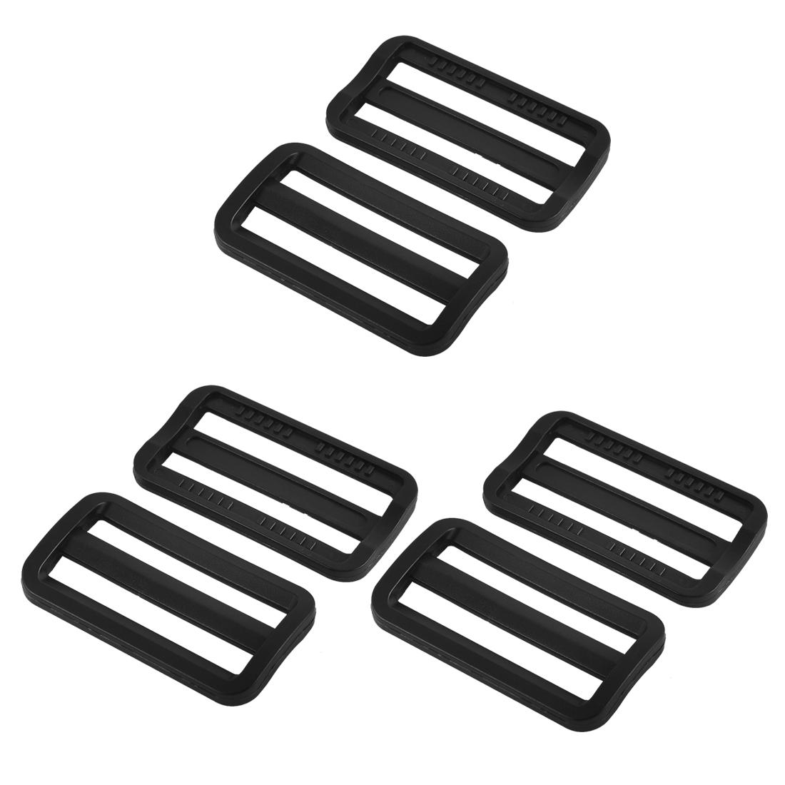 Bag Webbing Strap Belt Plastic Rectangle Connecting Tri Glide Buckles Black 6pcs