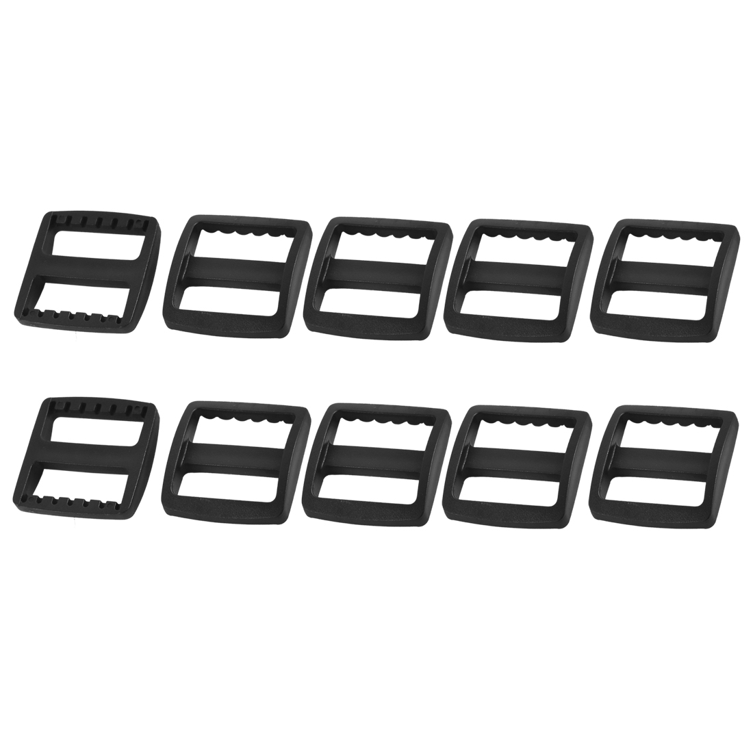 Suitcase Bag Webbing Strap Plastic Rectangle Connecting Tri Glide Buckles Black 10pcs