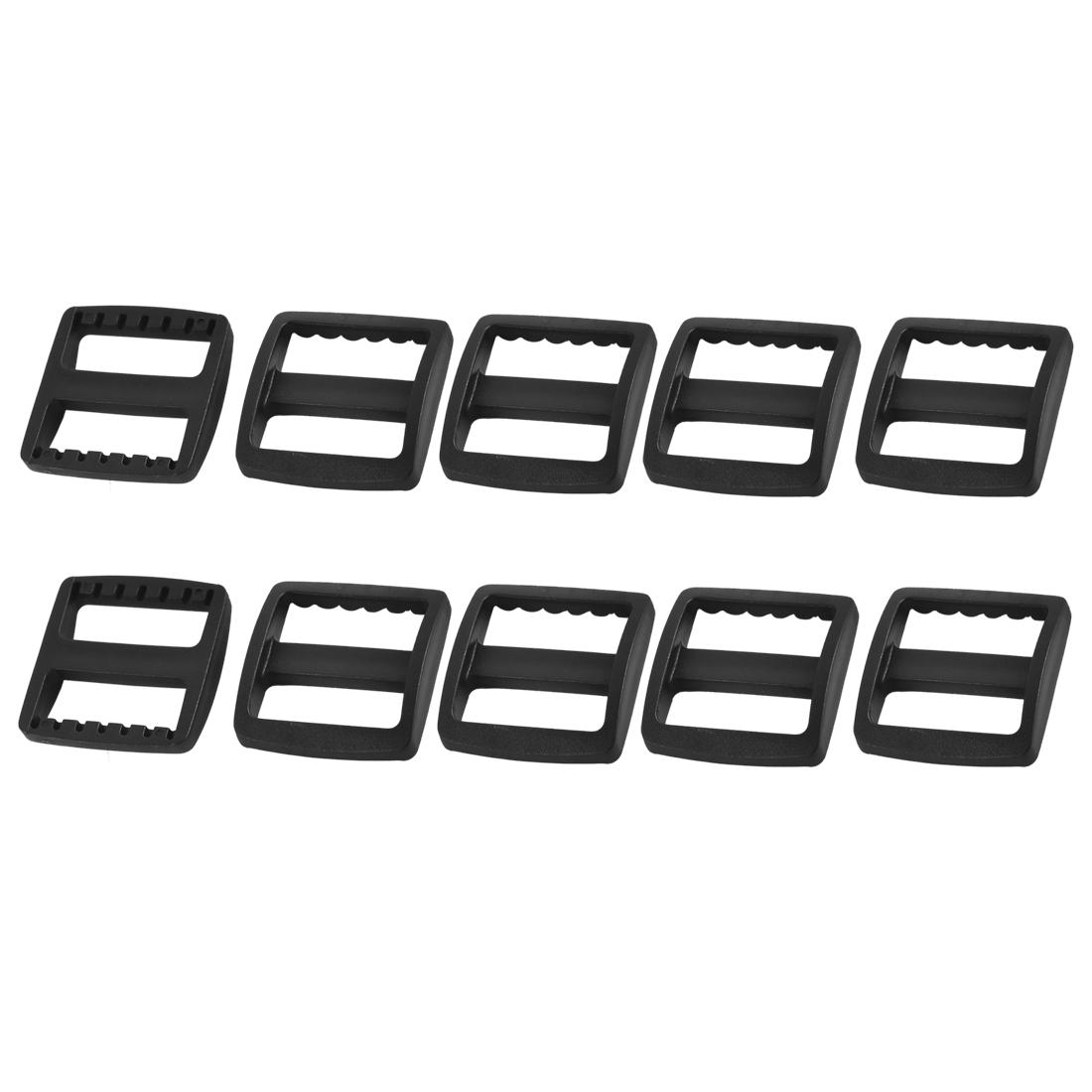 Suitcase Bag Webbing Strap Plastic Rectangle Connecting Tri Glide Buckles Black 10pcs