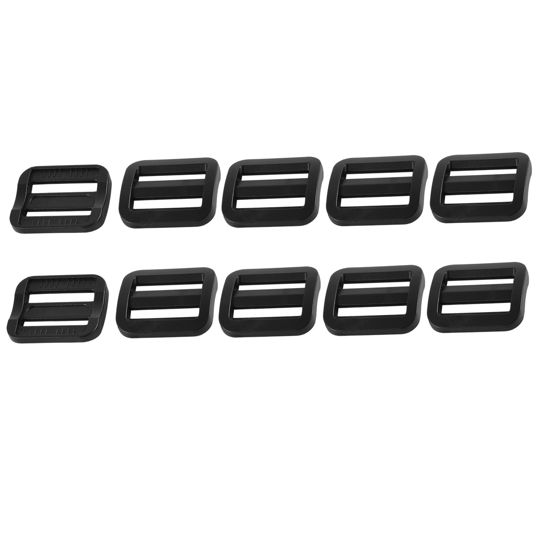 Bag Webbing Strap Belt Plastic Rectangle Connecting Tri Glide Buckles Black 10pcs