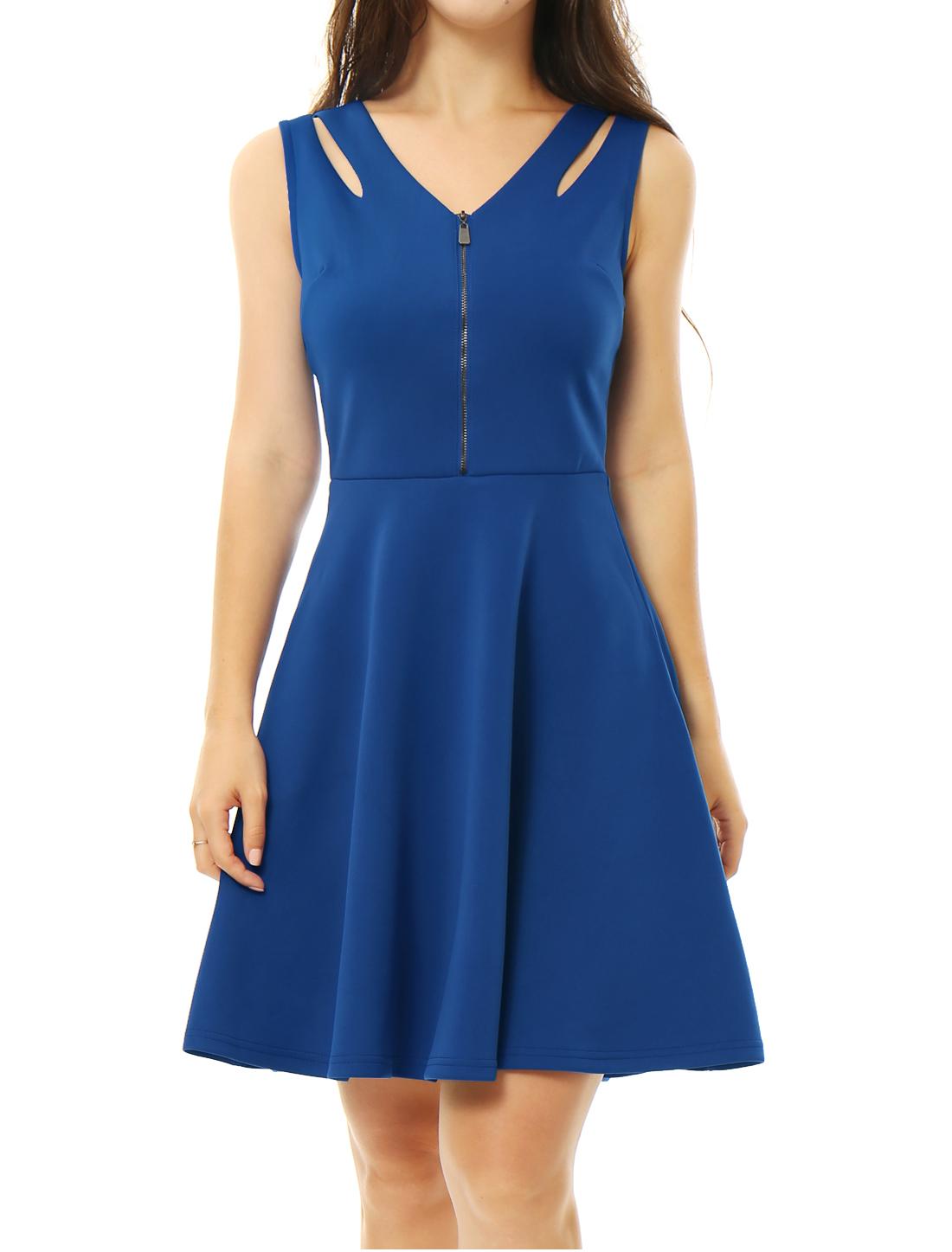 Women V Neck Half Zipper Front Cut Out A Line Dress Blue XS
