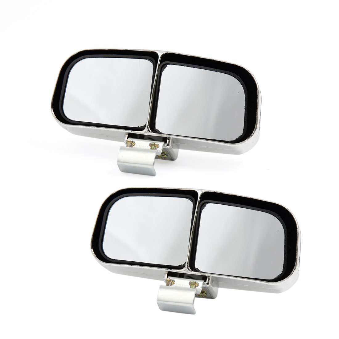 2pcs Adjustable Car Auxiliary Wide Angle Rearview Blind Spot Parking Mirror Silver Tone