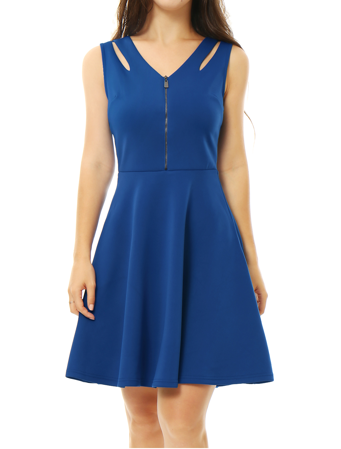 Women V Neck Half Zipper Front Cut Out A Line Dress Blue XL