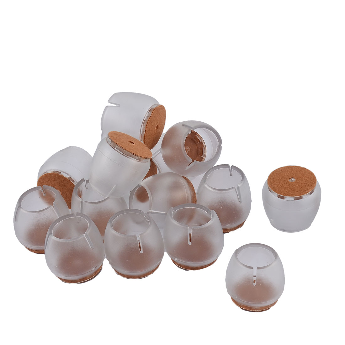 Silicone Round Bottom Floor Protector Furniture Foot Leg Tip Cap Cover Clear 3.4 x 3cm 16pcs