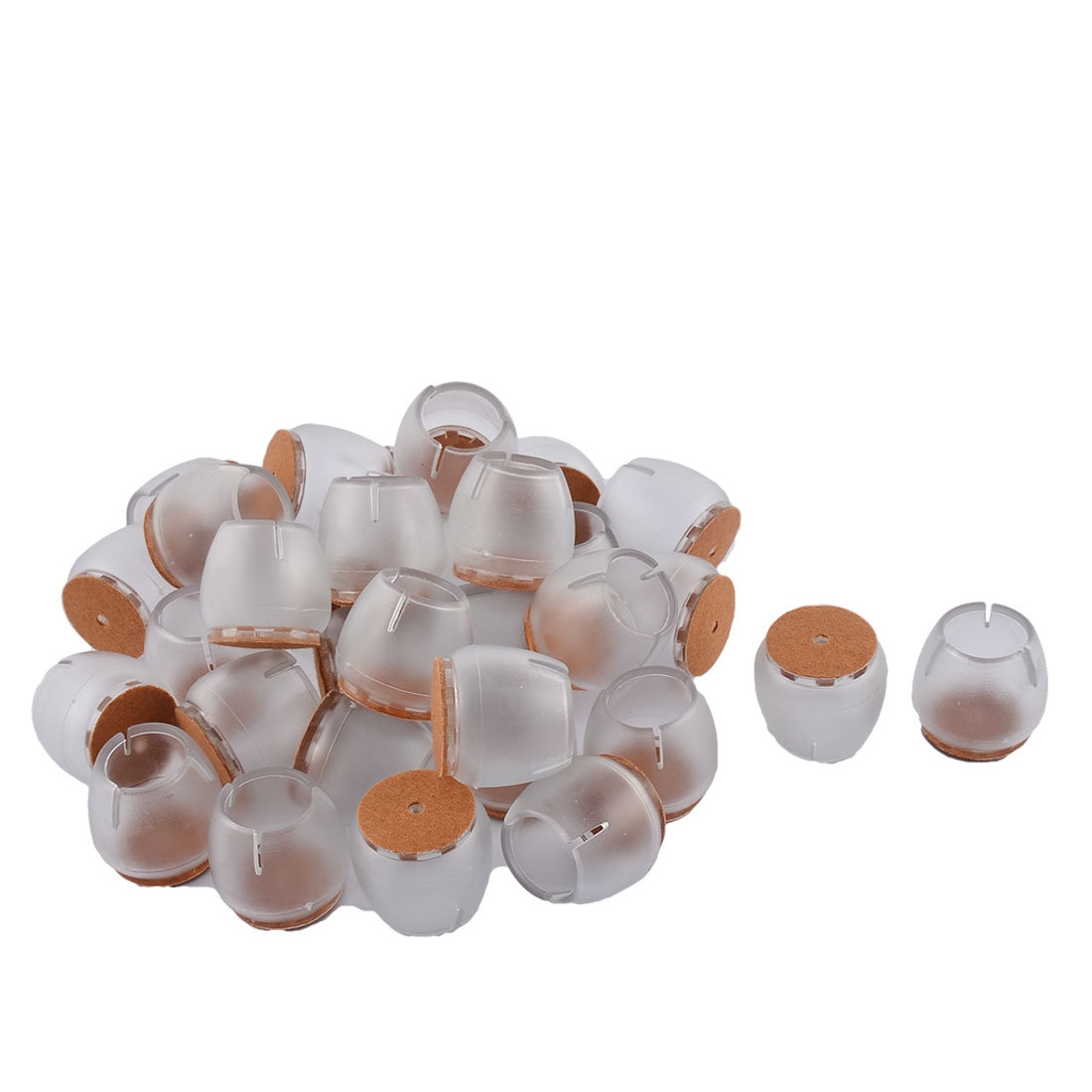 Silicone Round Bottom Furniture Leg Protective Cover Cap Tip Clear 3.3 x 3.1cm 32pcs