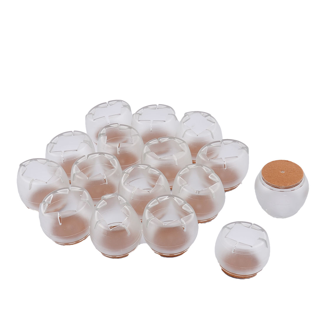 Silicone Round Bottom Table Leg Cover Wood Floor Protector Clear 4.6 x 3.5cm 16pcs