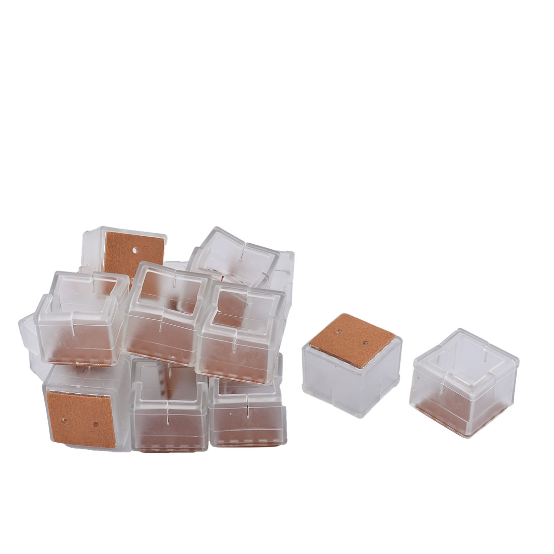 Silicone Square Shaped Table Leg End Cap Cover Clear 3.8 x 3.8 x 3.3cm 16pcs