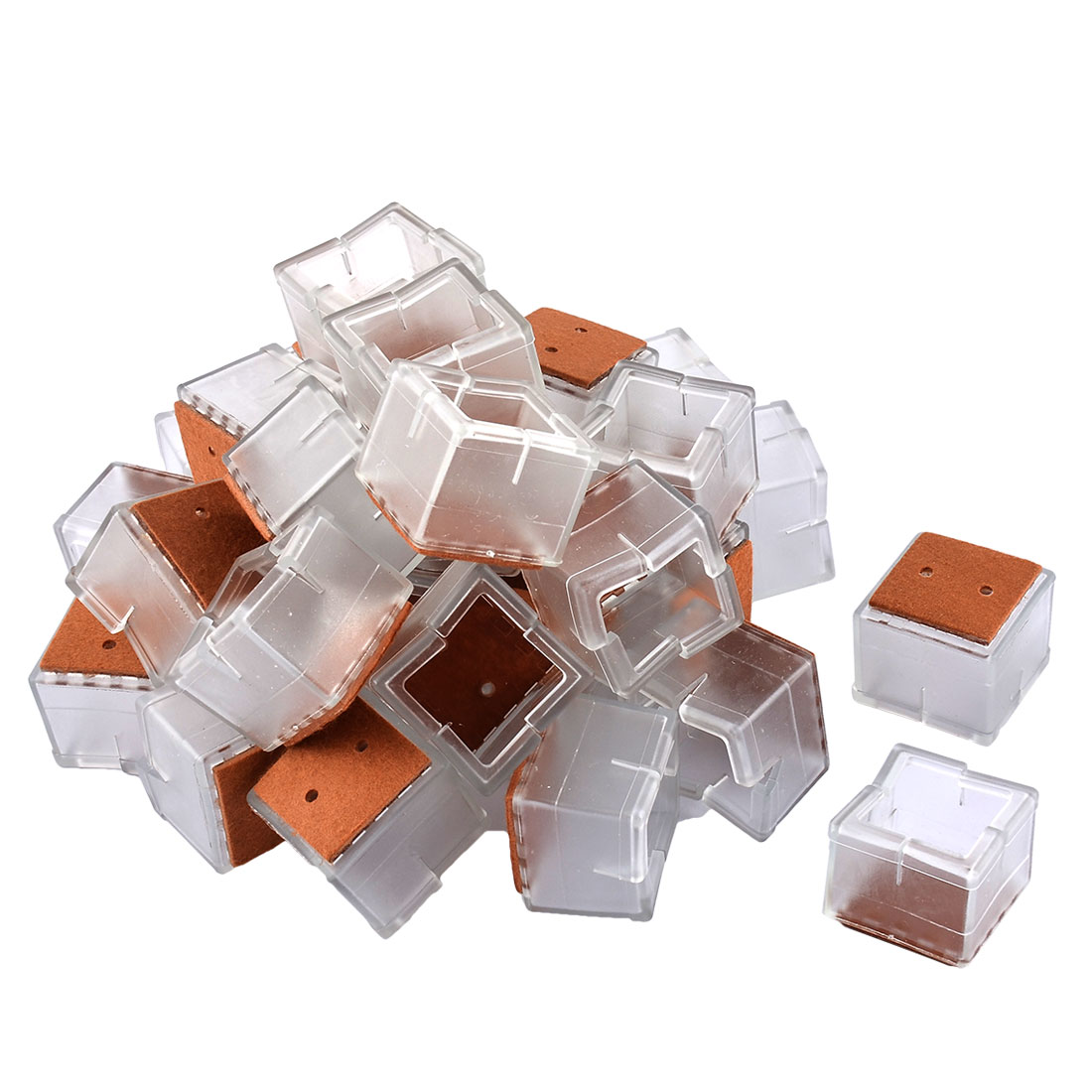 Silicone Square Shape Table Leg End Tip Cover Cap Clear 3.8 x 3.8 x 3.3cm 32pcs