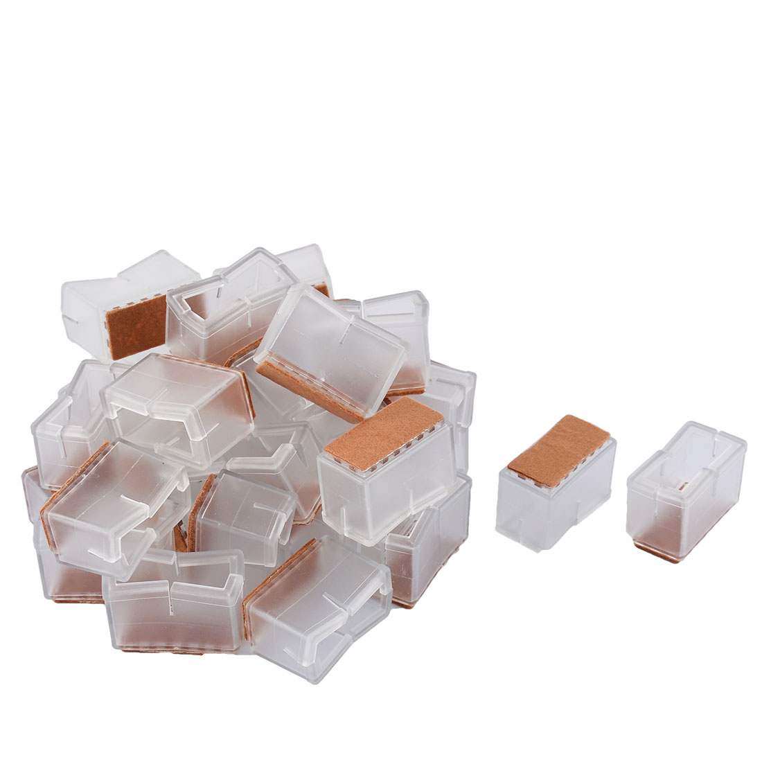 Silicone Floor Protecting Pad Table Desk Chair Leg Foot End Cap Cover Clear 4.4 x 2.4 x 3.1cm 32pcs