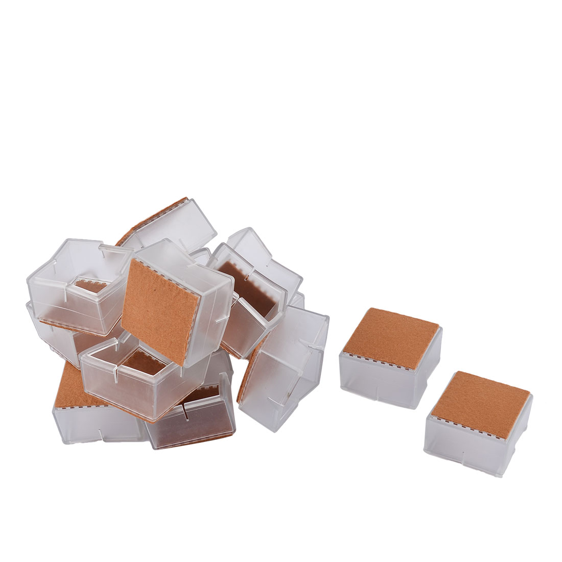 Silicone Square Shaped Floor Protecting Table Leg End Cap Cover Clear 5.5 x 5.5 x 3.4cm 16pcs