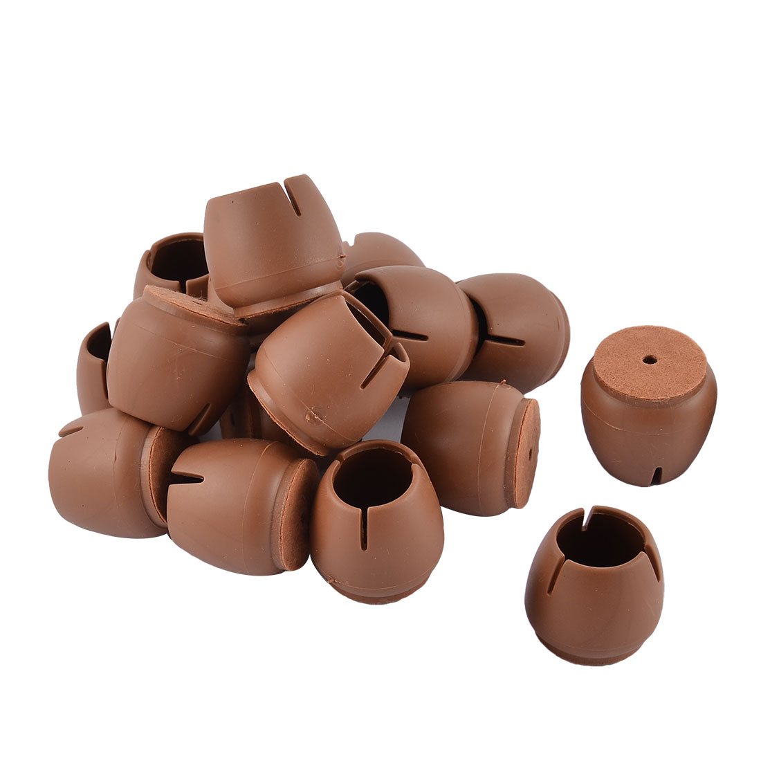 Silicone Round Bottom Floor Protector Furniture Foot Leg Tip Cap Cover Coffee Color 3.4 x 3cm 16pcs