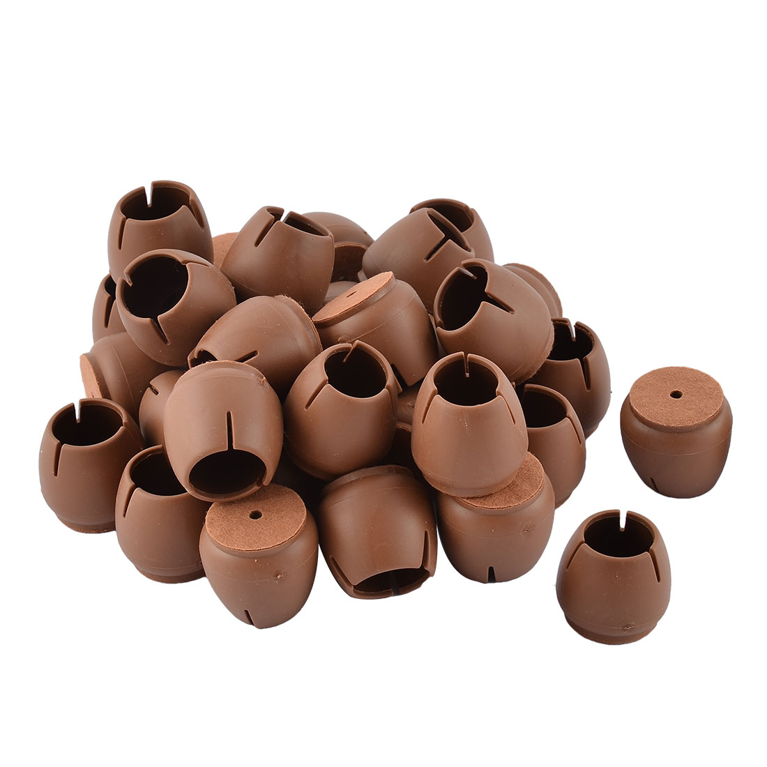 Silicone Round Bottom Furniture Leg Protective Cover Cap Tip Coffee Color 3.3 x 3.1cm 32pcs