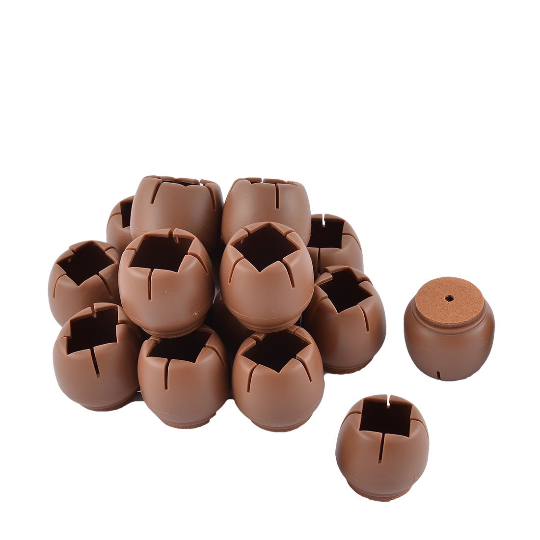 Silicone Floor Protecting Furniture Leg Cap Cover Protector Coffee Color 3.8 x 3.5cm 16pcs
