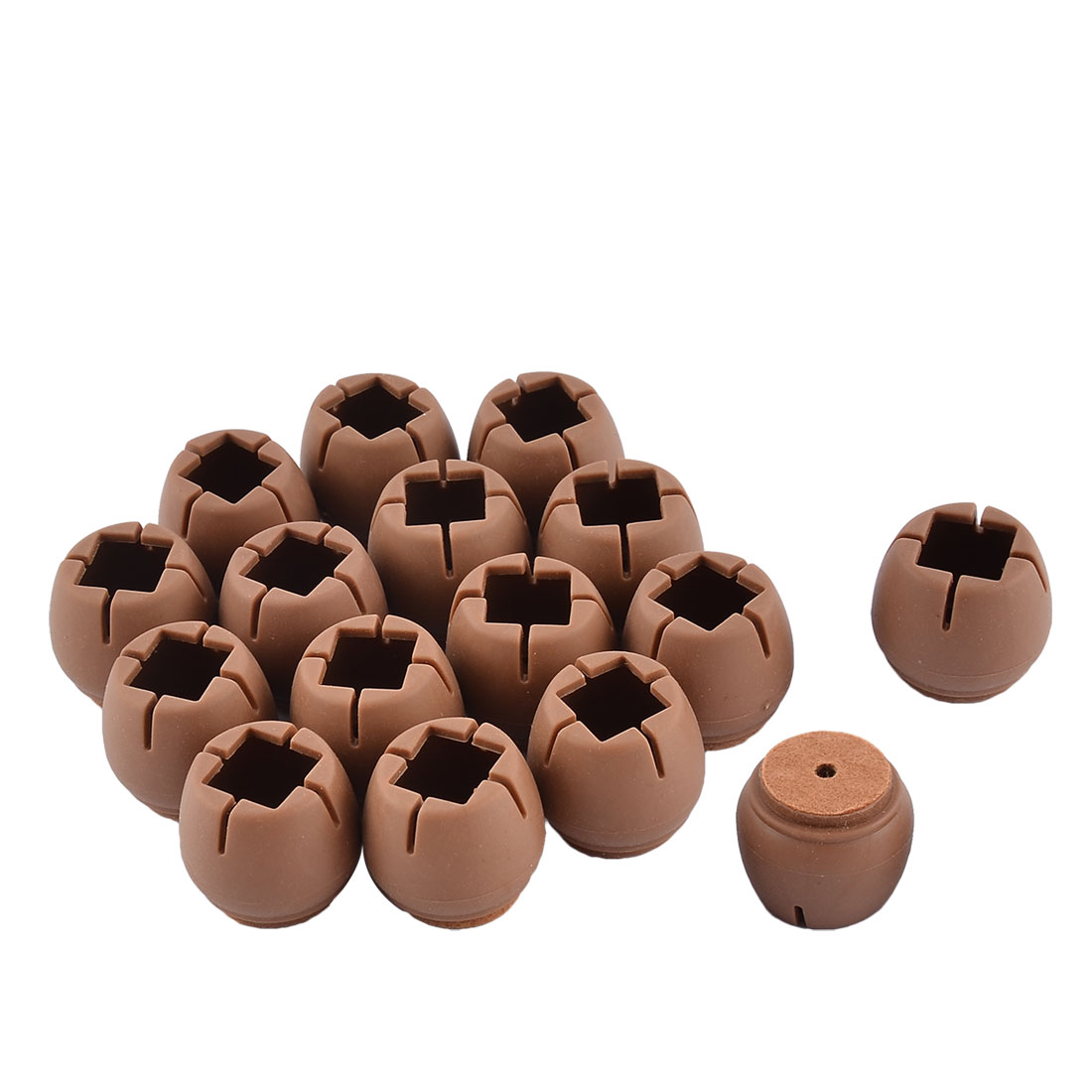 Silicone Flexible Round Furniture Leg Protective Cover Cap Coffee Color 3 x 2.7cm 16pcs