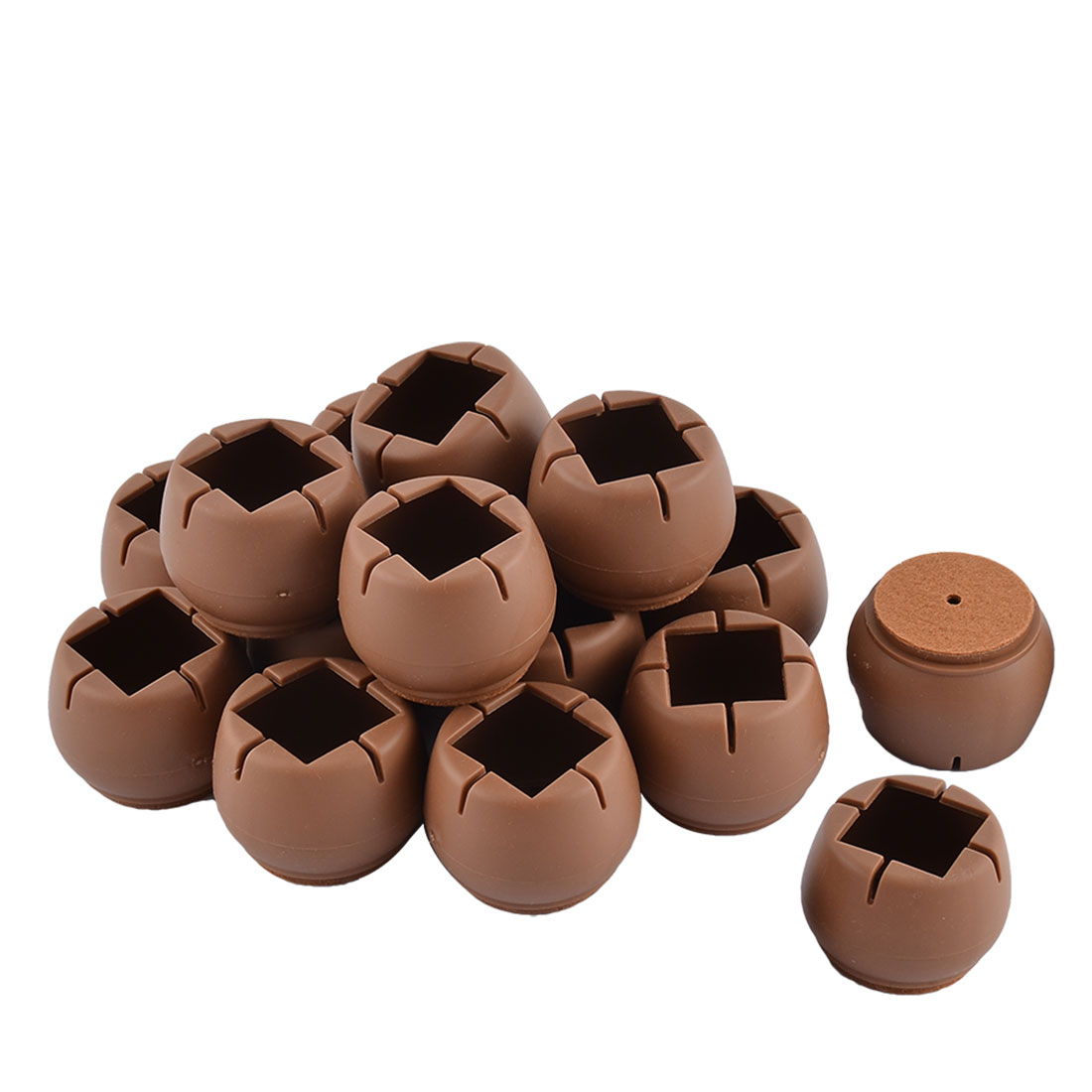 Silicone Round Bottom Table Leg Cover Wood Floor Protector Coffee Color 4.6 x 3.5cm 16pcs