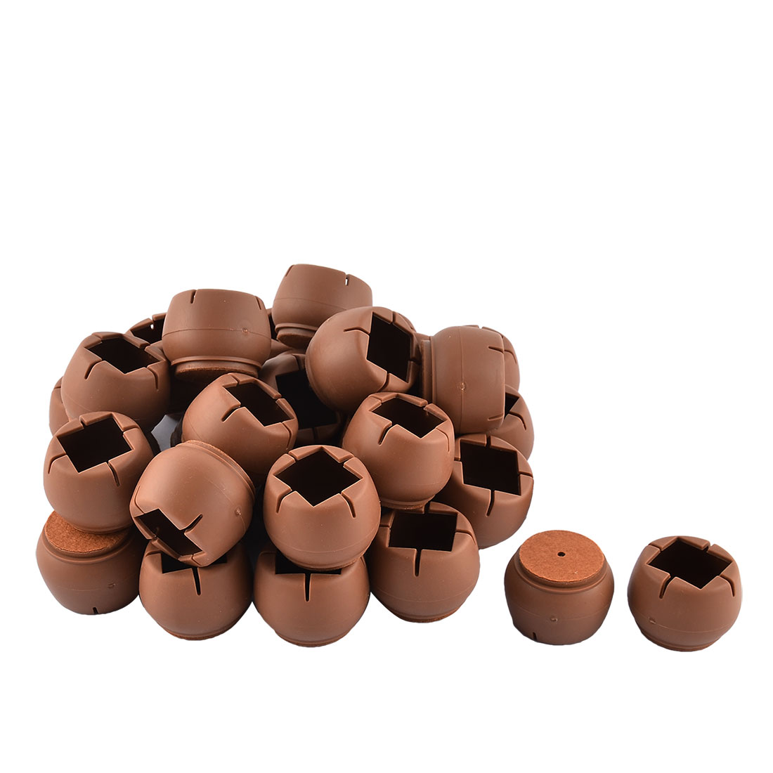 Home Silicone Round Bottom Furniture Floor Protector Table Desk Leg Pad Cap Cover Tip Coffee Color 4.6 x 3.5cm 32pcs