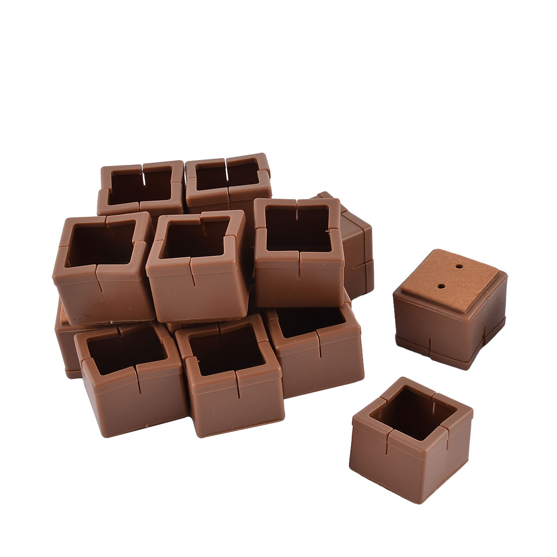 Silicone Square Shaped Table Leg End Cap Cover Coffee Color 3.8 x 3.8 x 3.3cm 16pcs
