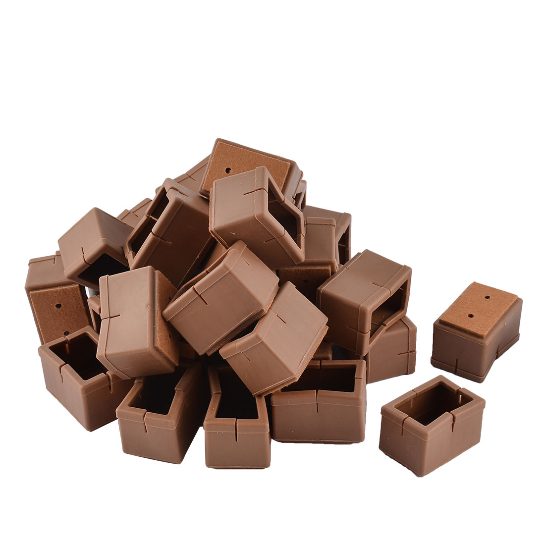 Silicone Rectangular Bottom Floor Protection Table Chair Leg Cover Coffee Color 4.8 x 3.3 x 3.3cm 32pcs
