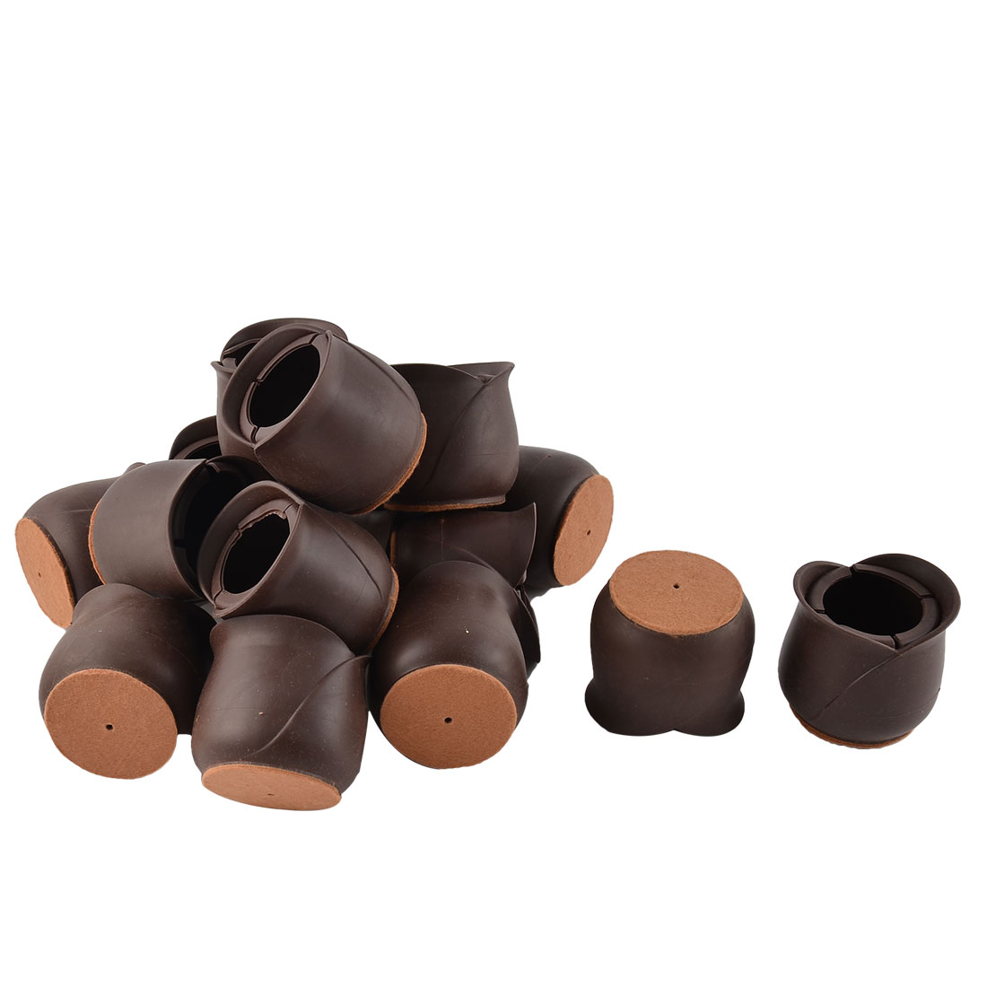 Silicone Flower Shaped Floor Protecting Pad Table Leg Cover Cap Chocolate Color 6.5 x 6cm 16pcs