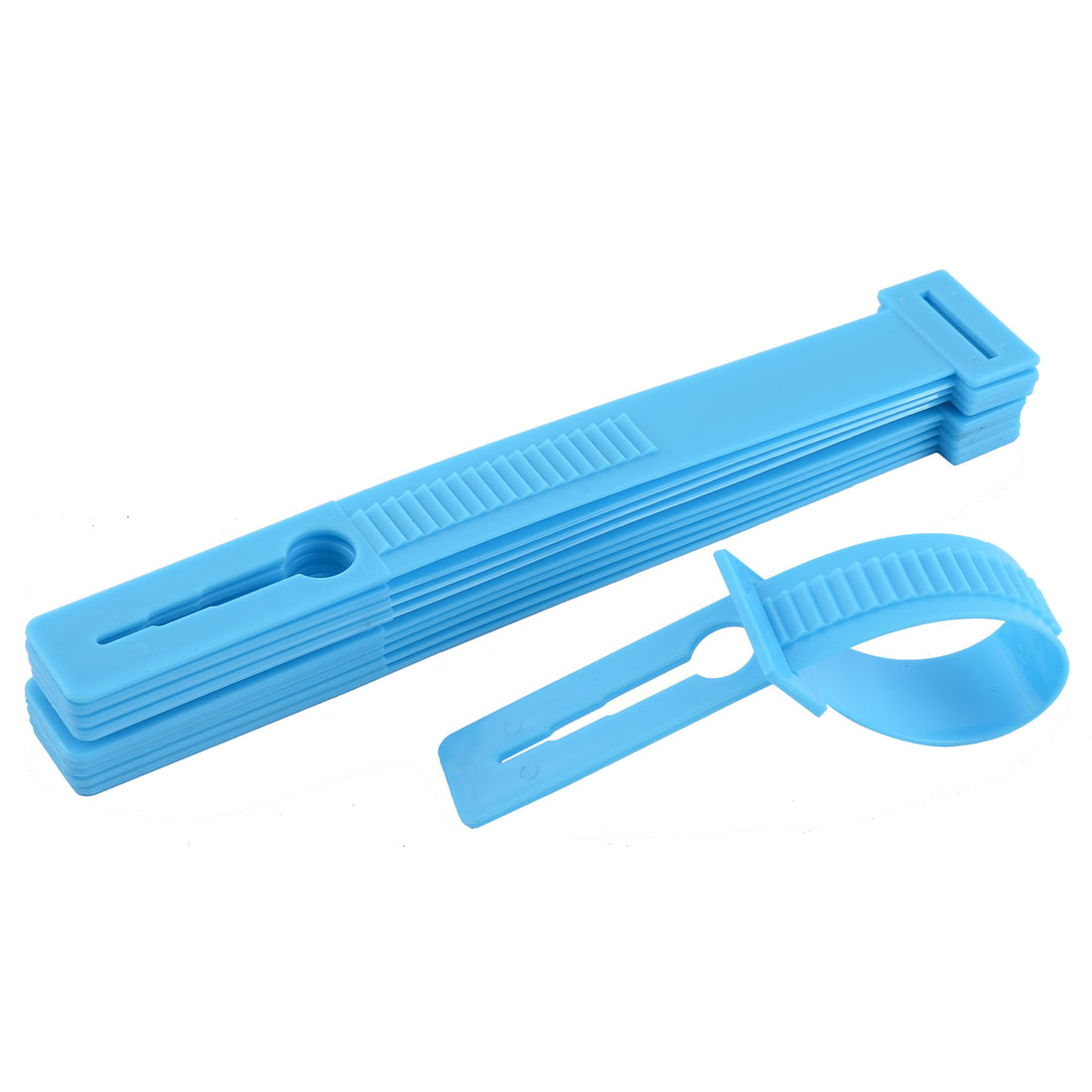 Household Plastic Windproof Clothesline Pole Clothes Hanger Lock Buckle Blue 10 Pcs