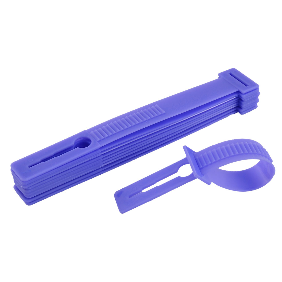Household Plastic Windproof Clothesline Pole Clothes Hanger Lock Buckle Purple 10 Pcs