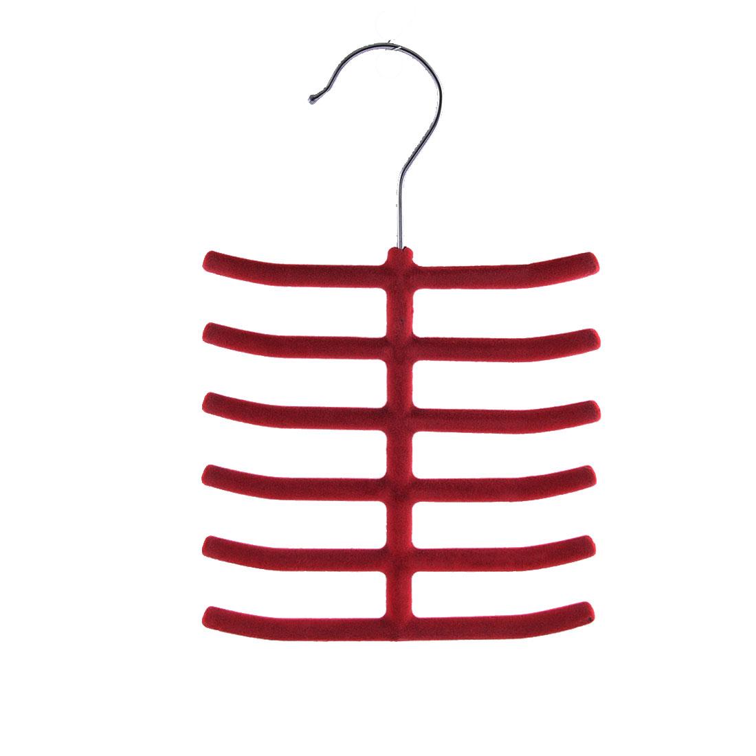 Household Bedroom Fishbone Shaped Towel Belt Shawl Scarf Necktie Rack Holder Red