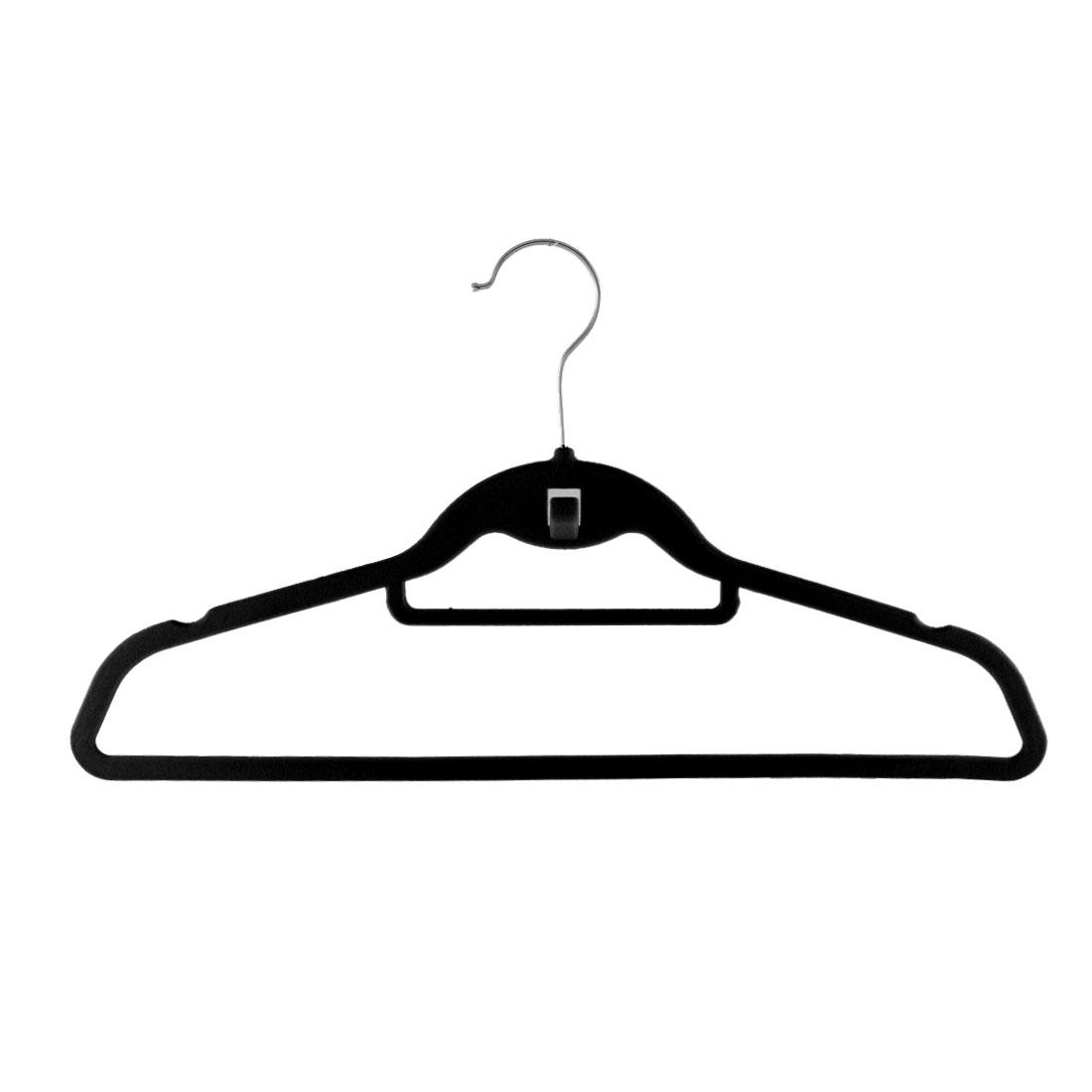 Household Velvet Anti Slip Belt Shawl Coat Towel Clothes Hanger Rack Black