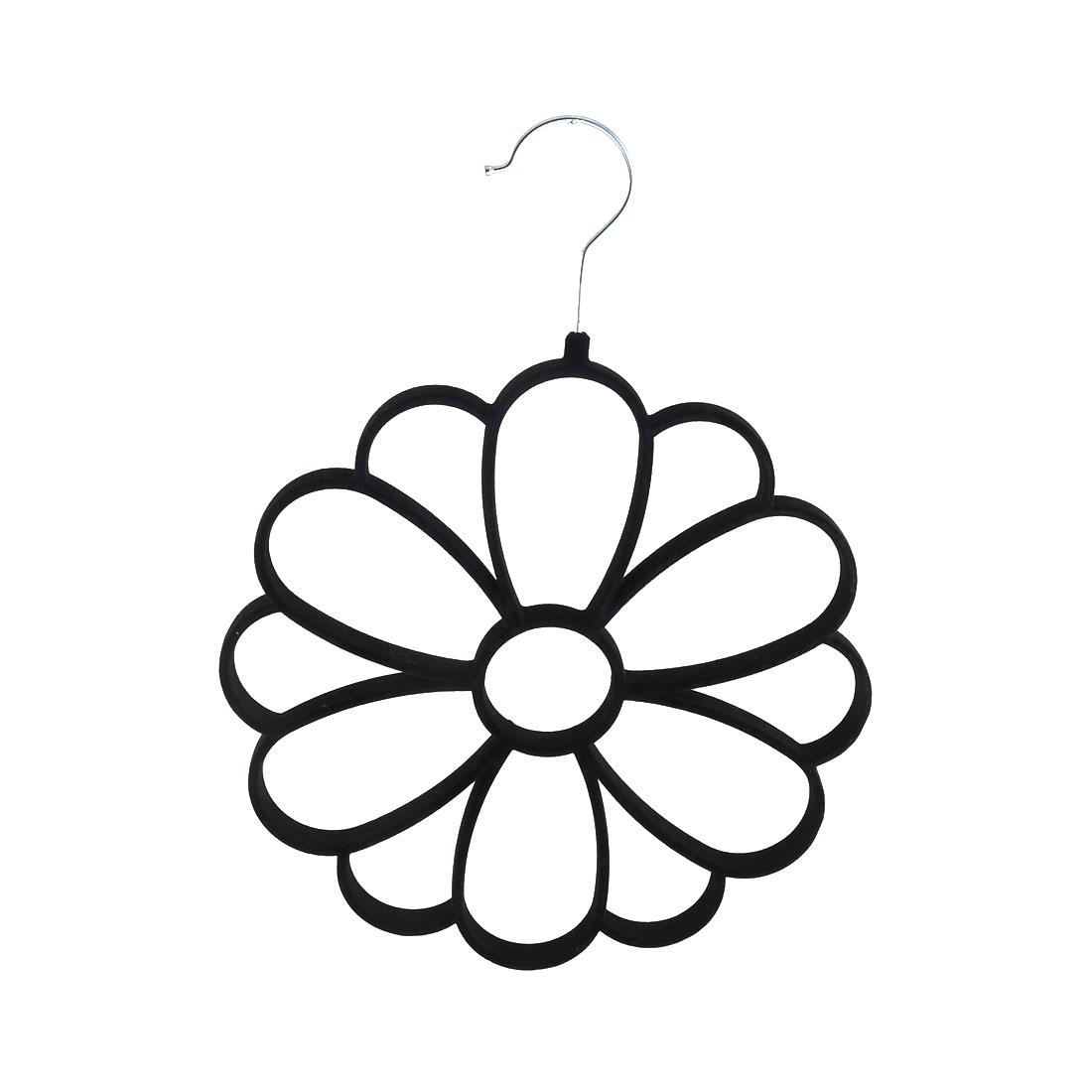 Household Velvet Chrysanthemum Shaped Necktie Belt Scarf Holder Rack Organizer Black