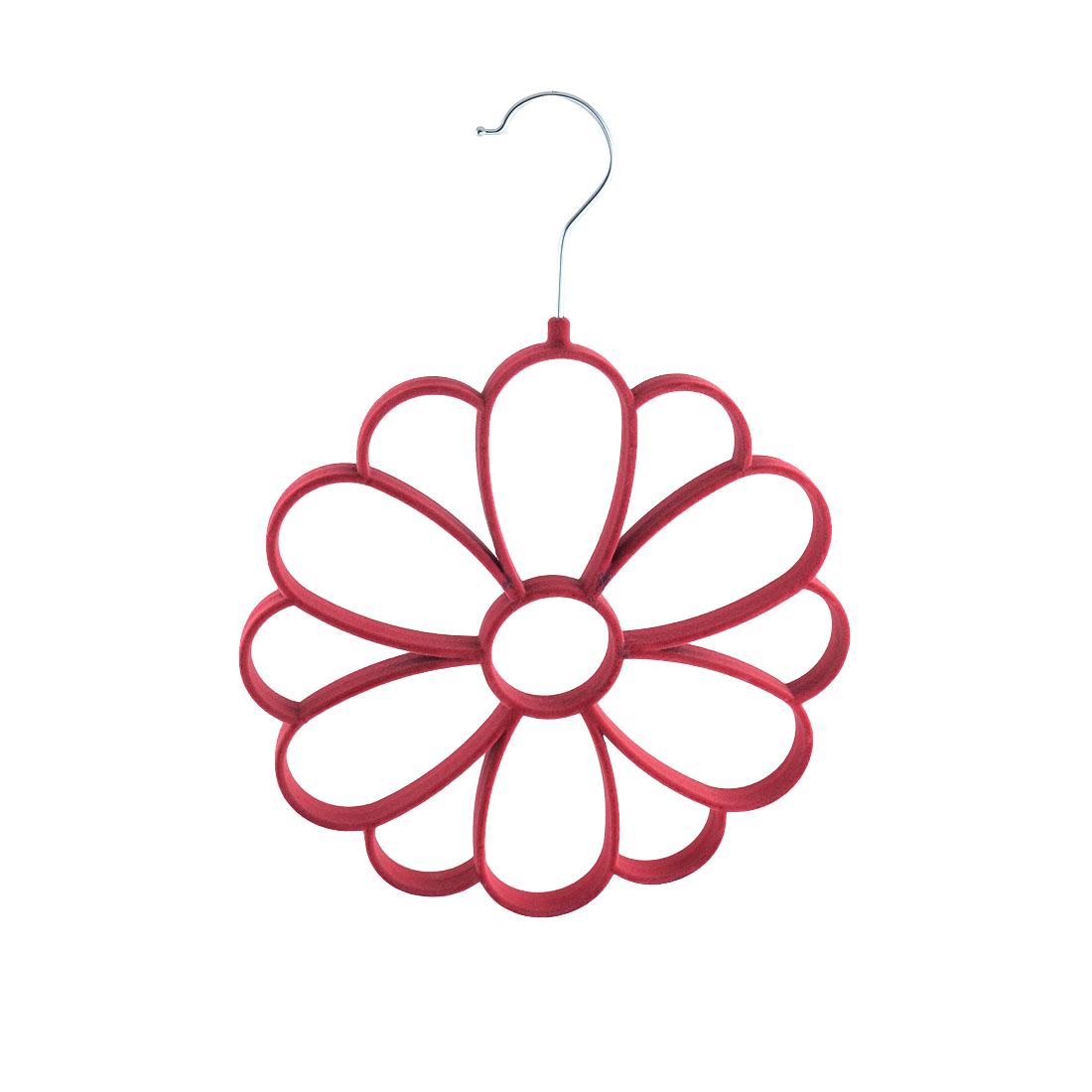 Household Velvet Chrysanthemum Shaped Necktie Belt Scarf Holder Rack Organizer Fuchsia