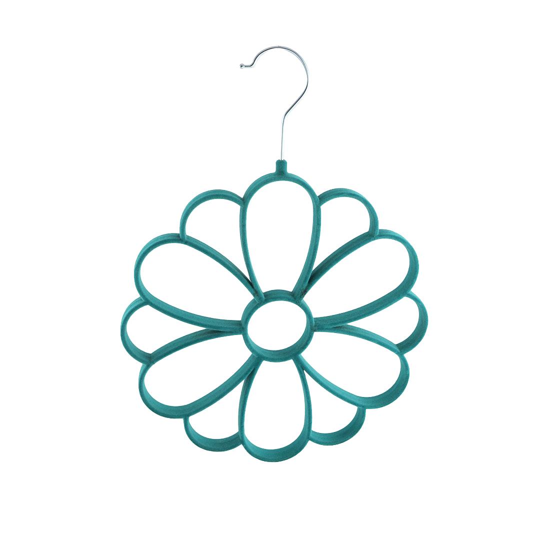 Household Velvet Chrysanthemum Shaped Necktie Belt Scarf Holder Rack Organizer Blue