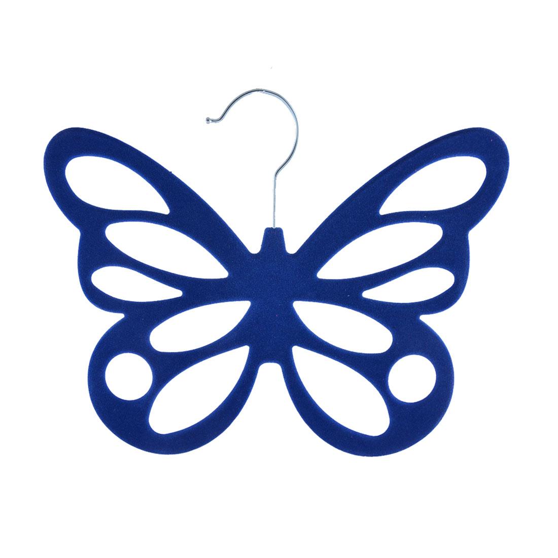 Household Bedroom Velvet Butterfly Shaped Scarves Scarf Holder Organizer Blue