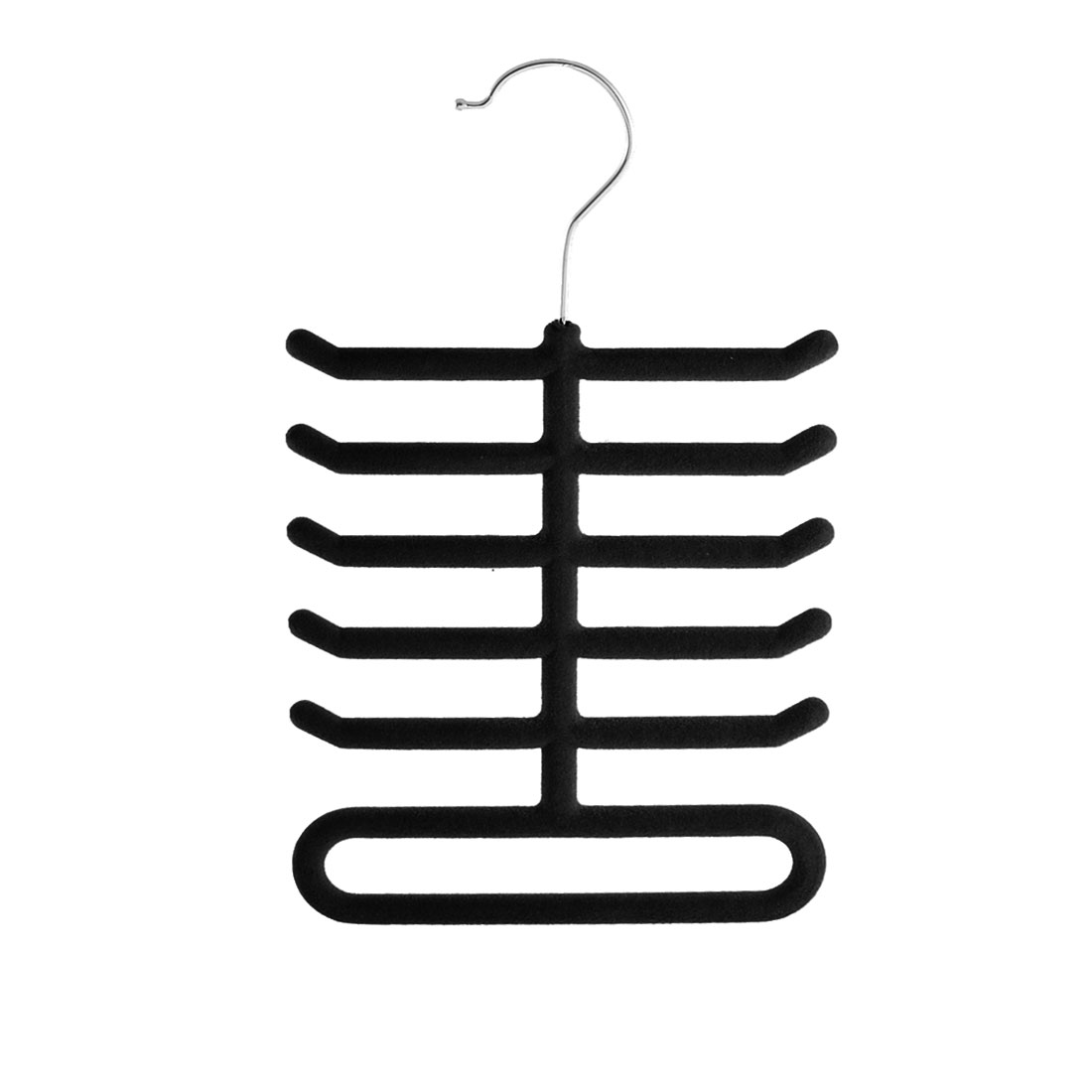 Home Bedroom Fishbone Shaped Towel Belt Shawl Scarf Necktie Rack Holder Black