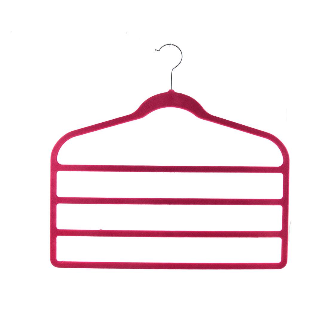 Home Velvet Anti-slip Shawl Coat Towel Clothes Trousers Holder Rack Organizer Fuchsia
